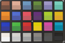 ColorChecker: The lower half of each area of colour displays the reference colour – Main camera