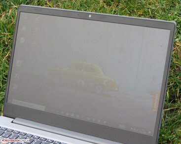 Using the IdeaPad S145-15API outdoors on an overcast day