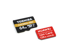 Our Toshiba Exceria Pro M501 reference microSD next to a new Huawei nano memory card.