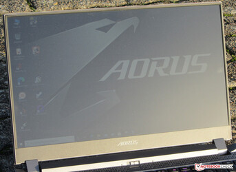 The Aorus 15P outdoors (shot in bright sunshine)