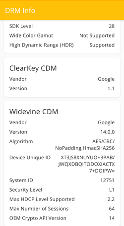 Widevine DRM is supported