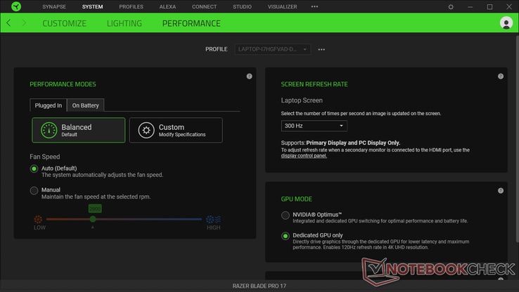 Synapse window for controlling fans, power profile, display refresh rate, and graphics switching