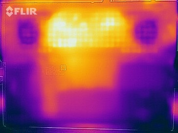 Heat map of the bottom of the device under sustained load