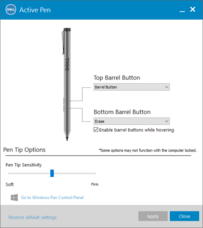 The barrel buttons are configured via the Dell Active Pen configuration utility...