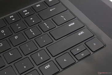 Shift key is now longer at the expense of smaller Up and Down arrow keys