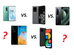 In test: Xiaomi Mi 10 Ultra, Huawei P40 Pro Plus, Google Pixel 5, Samsung Galaxy S20 Ultra, OnePlus 8 Pro. Test devices provided by Trading Shenzhen, Huawei Germany, Samsung Germany, Google Germany